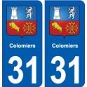 31 Colomiers blason ville autocollant plaque stickers
