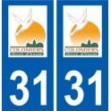 31 Colomiers logo ville autocollant plaque stickers