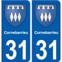 31 Cornebarrieu blason ville autocollant plaque stickers