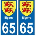 65 Bigorre blason autocollant plaque