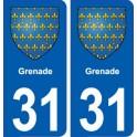 31 Grenade blason ville autocollant plaque stickers