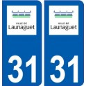 31 Launaguet logo ville autocollant plaque stickers