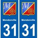 31 Mondonville coat of arms, city sticker, plate sticker