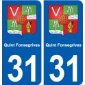 31 Quint-Fonsegrives coat of arms, city sticker, plate sticker