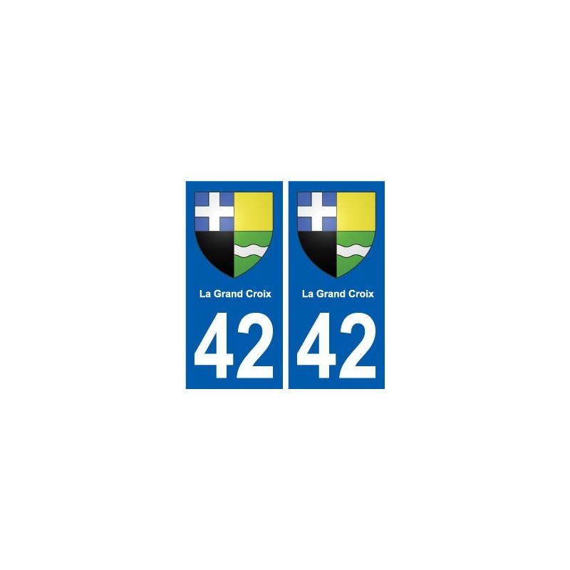 42 la grand croix blason ville autocollant plaque immatriculation blason armoiries stickers. Black Bedroom Furniture Sets. Home Design Ideas