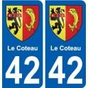 42 Le Coteau blason ville autocollant plaque stickers
