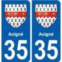 35 Acigné blason autocollant plaque stickers ville