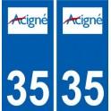 35 Acigné logo blason autocollant plaque stickers ville
