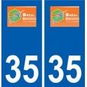 35 Bréal-sous-Montfort logo blason autocollant plaque stickers ville