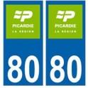 80 Somme Picardie nouveau logo autocollant plaque