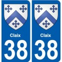 38 Claix coat of arms sticker plate city