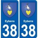 38 Eybens blason autocollant plaque ville