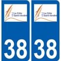 38 Côte-Saint-André logo sticker plate city