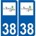 38 La Tour-du-Pin, logo sticker plate city