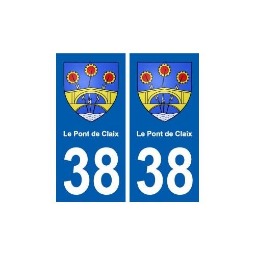 38 Le Pont-de-Claix blason ville autocollant plaque stickers