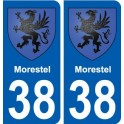 38 Morestel blason ville autocollant plaque stickers