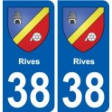 38 Rives coat of arms, city sticker, plate sticker