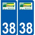 38 Rives logo ville autocollant plaque stickers