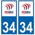 34 ASBH Bézier rugby autocollant plaque