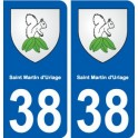 38 Saint-Martin-d ' Uriage coat of arms, city sticker, plate sticker