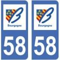 58 Nièvre autocollant plaque