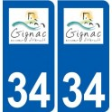 34 Gignac logo ville autocollant plaque stickers
