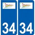 34 Pignan logo city sticker, plate sticker