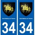 34 Saint-Mathieu-de-Tréviers coat of arms, city sticker, plate sticker