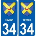 34 Teyran blason ville autocollant plaque stickers