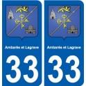 33 Ambarès-et-Lagrave blason ville sticker autocollant plaque