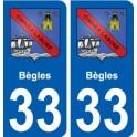 33 Bègles blason ville autocollant plaque stickers