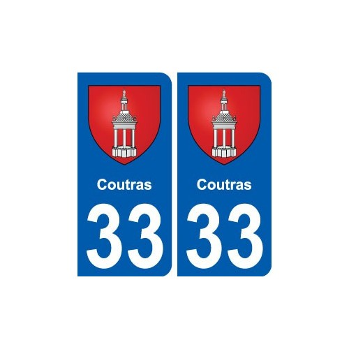 33 Coutras blason ville autocollant plaque stickers