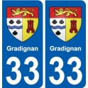 33 Gradignan blason ville autocollant plaque stickers