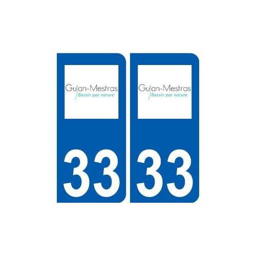 33 gujan mestras logo ville sticker autocollant plaque immatriculation d partement. Black Bedroom Furniture Sets. Home Design Ideas