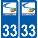 33 Langon logo city sticker, plate sticker