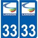33 Langon logo ville autocollant plaque stickers