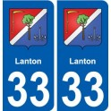 33 Lanton coat of arms, city sticker, plate sticker