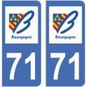 71 Saône et Loire autocollant plaque