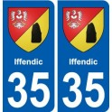 35 Iffendic coat of arms sticker plate stickers city