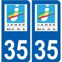 35 Janzé logo autocollant plaque stickers ville