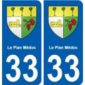 33 Le-Pian-Médoc blason ville autocollant plaque stickers