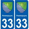 33 Parempuyre coat of arms, city sticker, plate sticker