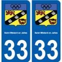 33 Saint-Médard-en-Jalles coat of arms, city sticker, plate sticker
