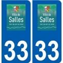 33 Salles logo ville autocollant plaque stickers