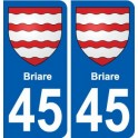 45 Briare city coat of arms sticker plate
