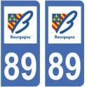 89 Yonne autocollant plaque