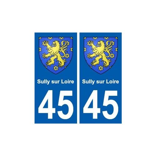45 Sully-sur-Loire blason ville autocollant plaque stickers