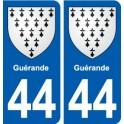 44 Guérande blason ville autocollant plaque stickers
