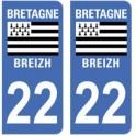 22 Côtes d'Armor autocollant plaque