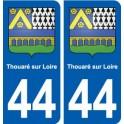 44 Thouaré-sur-Loire blason ville autocollant plaque stickers